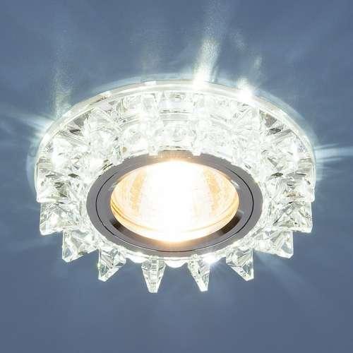 Точечный светодиодный светильник с хрусталем 6037 MR16  SL зеркальный/серебро Elektrostandard