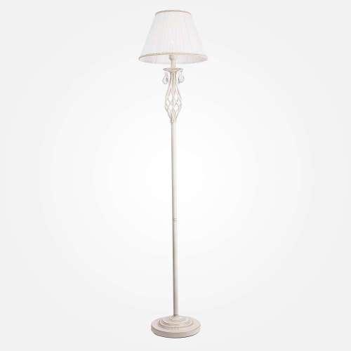 Напольный светильник с хрусталем 10073/1 белый с золотом Eurosvet