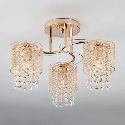 Потолочный светильник с хрусталем 30137/3 золото Eurosvet