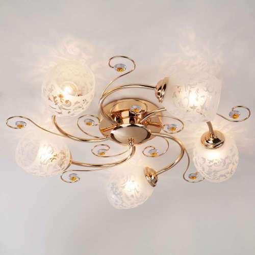 Потолочный светильник с плафонами 9677/5 золото Eurosvet