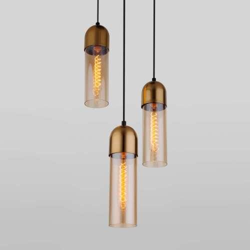 Подвесной светильник со стеклянными плафонами 50180/3 янтарный Eurosvet