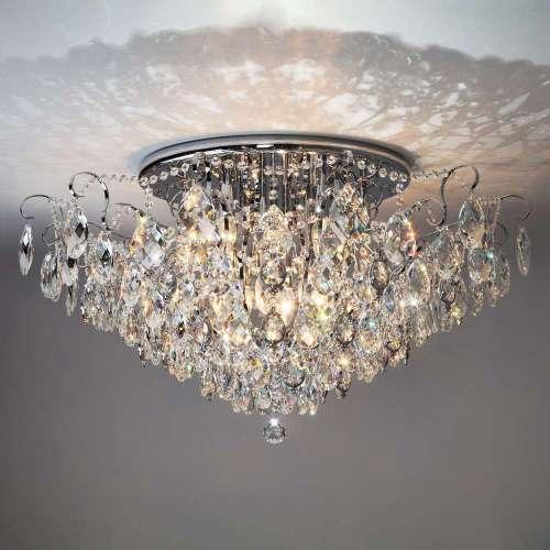 Светильник потолочный с хрусталем 10081/12 хром / прозрачный хрусталь Eurosvet